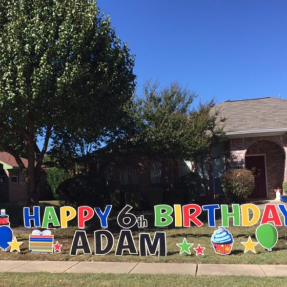 Happy 6th Birthday Yard Greeting for Adam