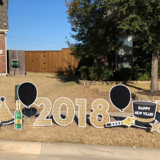 Happy New Year Yard Sign