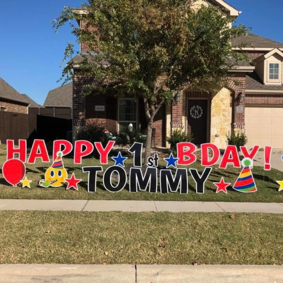 Happy 1st Birthday Yard Greeting for Tommy